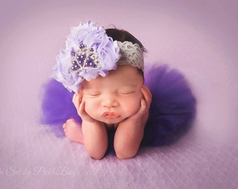 Newborn Tutu Set, Purple Tutu Set, Coming Home Outfit, Baby Tutu Set, Infant Tutu, Baby Girl Gift, Baby Headband, Lace Headband, Lavender