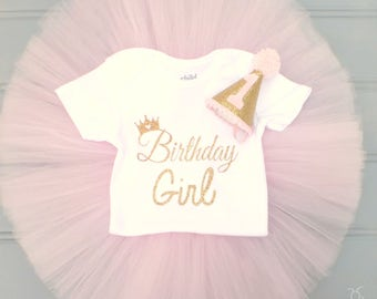 Gold Tiara 1st Birthday Outfit, Pink and Gold 1st Birthday Tutu Set, First Birthday Outfit, Gold Crown First Birthday Tutu Cake Smash Outfit