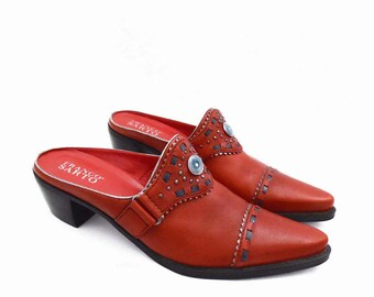 90's RED LEATHER southwest mules // vintage pointy toe clogs // by Franco Sarto // women's size 8.5 M // made in Brazil