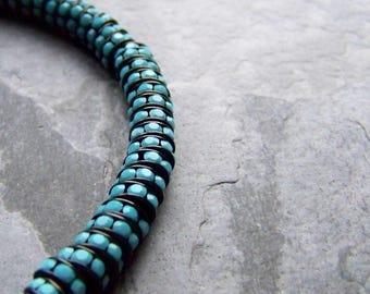 Boho Charm, Crystal Rondelle, Turquoise Crystal Rondelle, Jet Metal, Rhinestone Rondelle, Preciosa Brand, Crystal Bead, 7mm-10 Beads