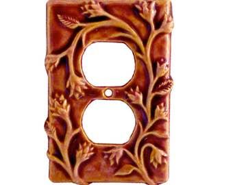 Ceramic Duplex Outlet Cover Plate- Vine Design in Amber Rose Glaze