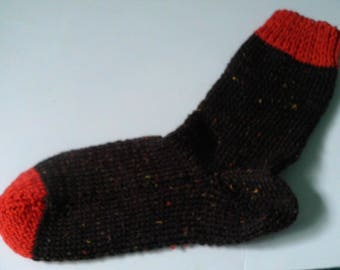Hand Knit Hand Dyed Wool Sock Womens Sz. Large/Men,s Medium 8-10 Brown Tweed & Orange