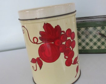 Vintage Canister Red Cherries Grapes Plum Litho Tin with Red Lid Shabby Farmhouse Cottage