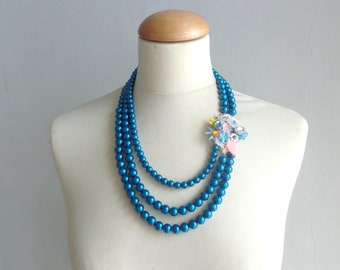 Royal blue Statement necklace, pearl statement necklace, rhinestones flower necklace, blue  multistrand necklace