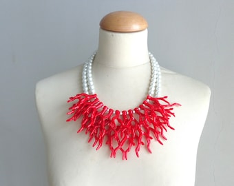 Red coral branch necklace, pearl necklace, pearl red coral branch statement