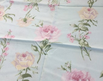 HOUSE INC Pink roses on aqua cotton fabric RETIRED