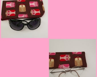 All Owls Eyeglass or Sunglass Case Choose your Size and Color