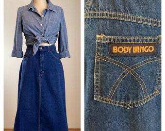 """70s Body Lingo High Waist A-Line Denim Skirt, Size Medium, 27"""" Waist"""