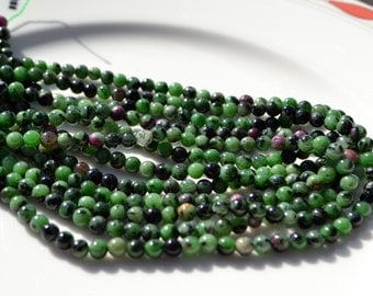 Ruby Zoisite 4mm Smooth Round Beads  Full 15 inch Strand