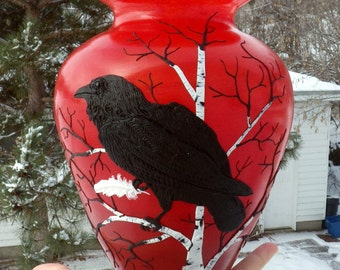 Pacifist Raven or Raven with White Feather Art Vase Sculpted with Polymer Clay onto Upcycled Glass in Ripe Red