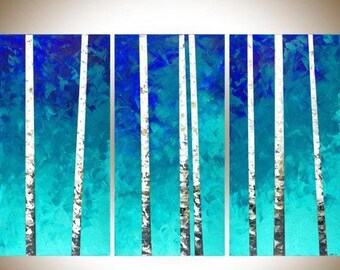 Birch tree painting Extra large canvas art wall art painting on canvas teal blue white home office wall decor by qiqigallery