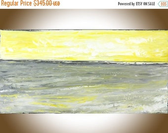 Yellow grey abstract painting seascape painting original art painting on canvas wall art wall Decor home decor wall hanging by qiqigallery