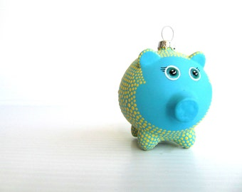 Piggy Ornament: Hand painted Glass Piggy ornament Yellow and Blue Piggy Cute pig ornament piggy bank