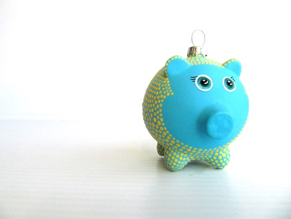 Piggy Ornament: Hand painted Glass Piggy ornament Yellow and Blue Piggy Cute pig ornament piggy bank