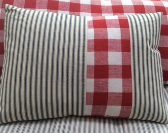 French Cottage Pillow Down and Feather Beach Cottage, Urban, Farmhouse ReD CHecK Shabby Chic