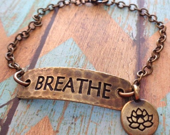 Breathe Bracelet- Meditation Yoga Breathe Lotus - Brass Breathe Bracelet Lotus Charm - Breathe Bar Brass -B46