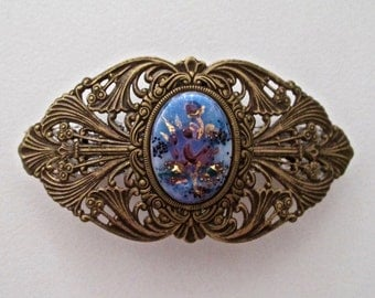 Brass Ox Ornate Vintage Floral Cameo Barrette
