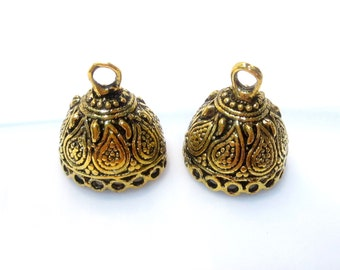 50% Off 2pc Tassel Tops, Antique Gold Large Round Tassel Caps Dome Bead Caps 17x16mm, Loops: 2mm, Opening 12mm BC1086 A17