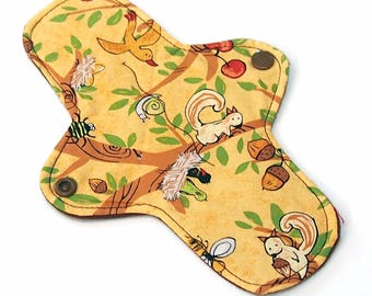 """8"""" Reusable Cloth Pantyliner - ULTRATHIN - 8 Inch - Squirrel - Woven Quilter's Cotton top"""