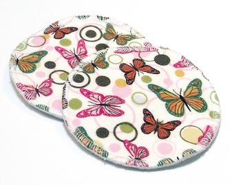 "4.5"" Reusable Cloth Nursing Pad Set in Bamboo/Organic Cotton with heavy fleece in Cotton Flannel - Monarch Butterfly"