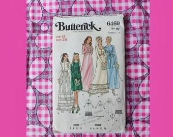 NEW YEAR SAVINGS 1960-70's Wedding Dress High Waist Country Dress Butterick Pattern 6469 size 13 bust 35