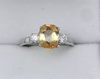 AAAA Golden Imperial Topaz   8x6mm  1.82 Carats   with .14 cts of Diamonds 14K white gold ring 1073