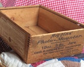 WOODEN PHOTO BOX, vintage mounter box, fingered joints, storage container, collectible