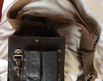 VINTAGE TOOL BELT, industrial fanny pack, waist pouch, leather bag, hipster tote