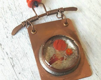 Artisan Made Copper, Glass and Resin Pendant and Necklace