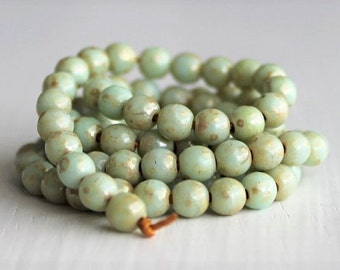 100 Opaque Seafoam Gold Dust 4mm Smooth Czech Glass Beads