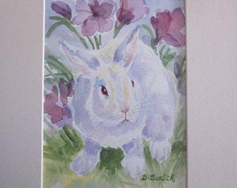 WHITE RABBIT  Original Watercolor Painting 8 X 10 Matted