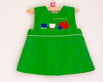 Vintage baby girl's dress green with train 9 to 12 months