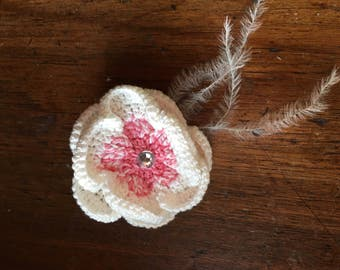 Crocheted Flower Hair Bow with Feathers
