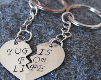 Yogis for life Set of Two Key chains key rings. Yoga partners two key chains each gets one heart