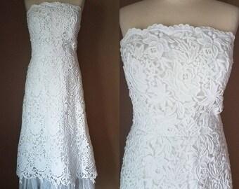 Unique Vintage Tea Length Strapless Lace Wedding Dress