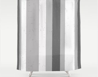 Asymmetrical Stripe Fabric Shower Curtain in Grey and White Wide Vertical Flecked Graphic Stripes
