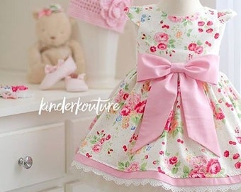 Pretty Princess Girl Floral Handmade Boutique Dress