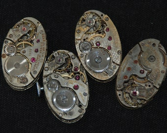 Gorgeous Vintage Antique Oval Watch Movements Steampunk Altered Art Assemblage RE 43