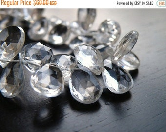 Black Friday Sale Topaz Gemstone Briolette Clear White Faceted Pear Almond Drop Top Drilled 9 to 10mm 19 beads