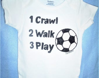 Soccer Baby Bodysuit, Baby Soccer One Piece, Crawl Walk Play Soccer, Sports Baby Bodysuit