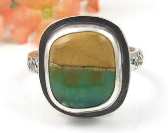 Variscite Ring - Sterling Silver Australian Variscite Ring - US size 7 3/4 - green ring - rustic ring - boulder variscite - size 7.75 ring