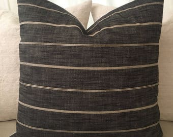 "Designer black & neutral stripe textured 22"" pillow cover"