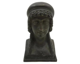 Bronze Bust - Woman Sculpture with Curly Hair and Bonnet, Antique