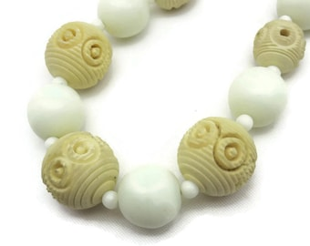 Galalith Jewelry - French Bakelite and Milk Glass Necklace - Carved Beads