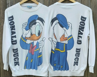 Vintage DONALD DUCK Shirt  // Vtg 80s 90s Disney Distressed Novelty Graphic Long Sleeve Tee