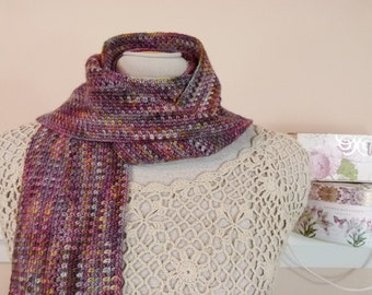 Crocheted Scarf of Unisex Design - Woven Look Fine Stitches Scarf in Hand-Dyed Merino Wool - Item 1559