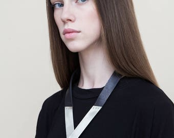 V pendant Neck Piece, Silver Black V Necklace, Statement Leather V Necklace, Triangle Pendant Necklace, Minimalist Neck Piece For Women