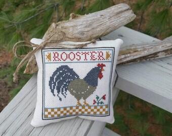 Cross Stitch Rooster Pillow Prairie Schooler Handmade Home Decor