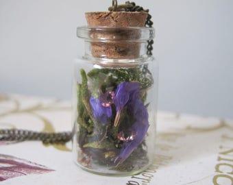 Purple Diamond Faerie Pixie Terrarium Necklace Flowers Gemstone
