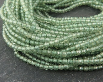 "AAA Green Apatite Faceted Rondelles 2mm ~ 13"" Strand (CG9520)"